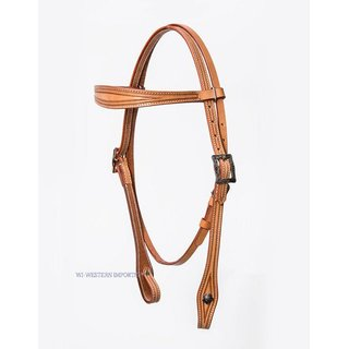 Border Tooled Headstall w./Antique Conco