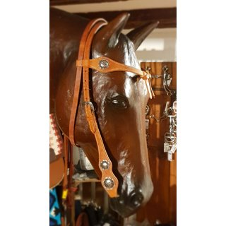 Knotted Headstall with silver Conchos - Westerntrense - Kopfstück